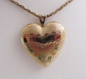 Vintage-PPC-14K-Gold-Filled-Puffy-Heart-Locket-Pendant-Necklace-Engraved-Flowers