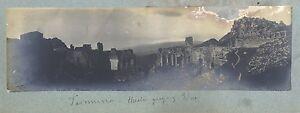 Taormina Italia 2 Foto Panoramica Ca 1900 Vintage Analogica