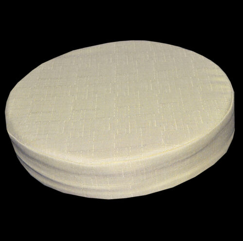 Qh07r Dim Beige Plain Thick Cotton Blend 3D Round Seat Cushion Cover Custom Size