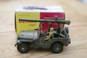 Vintage-Dinky-Jeep-Avec-Cannon-French-Boxed-829-Boxed-with-rear-mounted-cannon