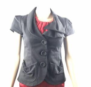 Nanette-Lepore-Draped-Collar-Detail-Bow-Career-Blazer-Black-Jacket-Sz-XS-0-MINT