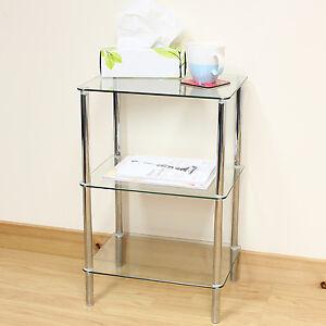 hartleys clear glass 3 tier side lamp coffee lounge living room table shelf ebay. Black Bedroom Furniture Sets. Home Design Ideas