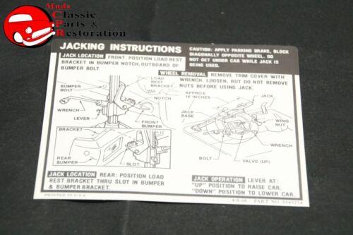 69 Impala Hardtop /& Sedan Jack Instructions Decal GM#3949214