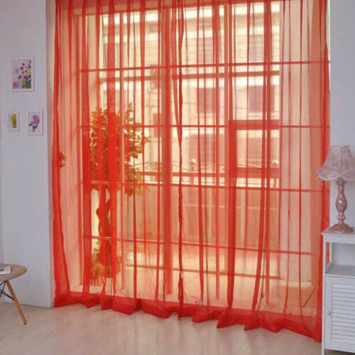 2pcs Tulle Curtains Window Living Room Sheer Voile Curtains Home Decoration