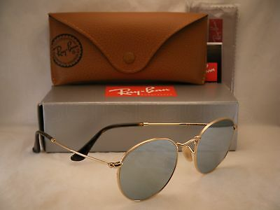 ff80804257d Ray Ban 3447N Round Metal Shiny Gold w Grey Flash Mirror (RB3447N 001 30