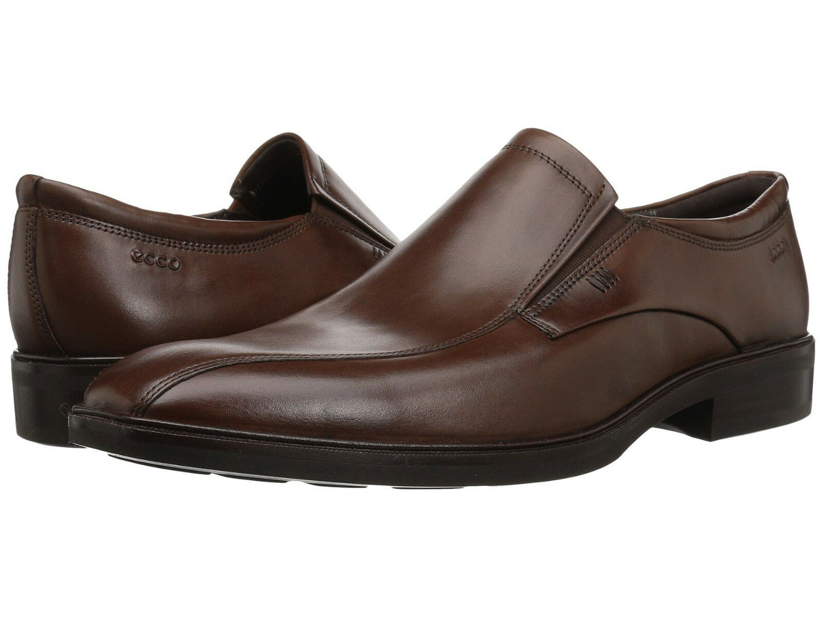 Ecco Men's Illinois US 13 M   Brown Leather Slip-Ons Loafers shoes