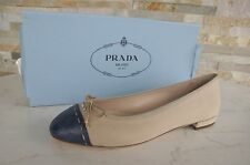 de luxe PRADA Gr 35 Ballerines Chaussons Chaussures bicolore corda bluette NEUF