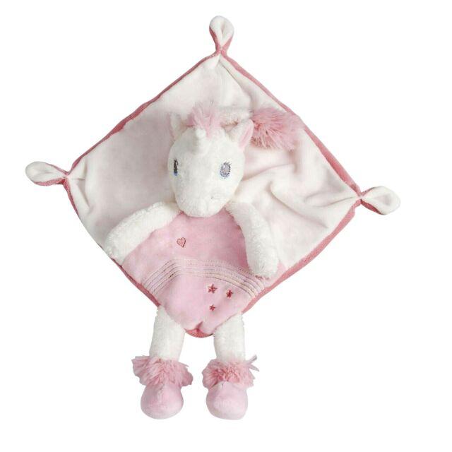 Doudou carré plat Licorne rose et blanc étoiles coeur Tex Baby Carrefour Nicotoy