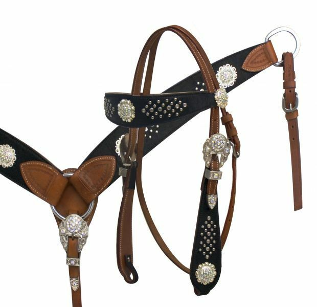 WESTERN SADDLE HORSE LEATHER BRIDLE  W  REINS & BREAST COLLAR PLATE WITH BLING    up to 60% off