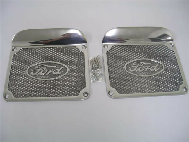 1928 1929 1930 1931 Ford Model A Polished Aluminum Step Plates w Logo + Hardware