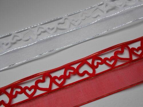 38mm breit Herzen in Weiß//Silber oder Rot//Gold 1 Meter Schleifenband Herz