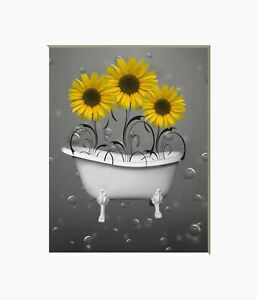 Marvelous Details About Yellow Gray Bathroom Wall Art Sunflower Bubbles Decorative Bath Wall Picture Interior Design Ideas Truasarkarijobsexamcom
