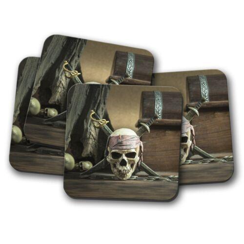 Pirate Caribbean Jolly Rodger Gift #14528 4 Set Skull /& Crossbones Coaster