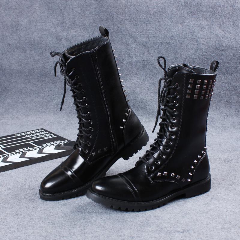 Mens Punk Rivets Studded Motorcycle Biker Short Mid Calf Boots Knight Shoes New