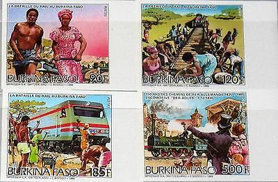 Afrika Sparsam Burkina Faso 1986 1082-85 766-69 Railroad Construction Trains Züge Locomotives** Hochwertige Materialien Briefmarken