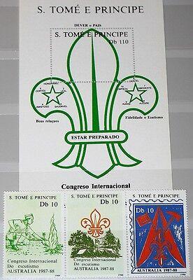 Motive Organisationen Ausdrucksvoll Sao Tome Principe 1988 1068-70 Bl 182 Scouts Pfadfinder Gute QualitäT