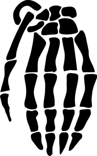 Grenade skeleton gloves vinyl decal sticker wall car laptop many colors//sizes