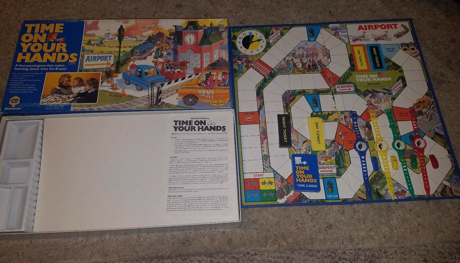 Time On Your Hands Board Game Kids 1986 Pressman Rare Complete Educational