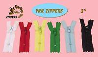 6 Nylon Ykk Doll Zippers (2 & 3 You Pick) Red Blue Yellow Green White Black