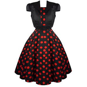Hearts-amp-Roses-London-Black-Red-Polka-Dot-1950s-Dress-with-Bolero-Shrug-UK