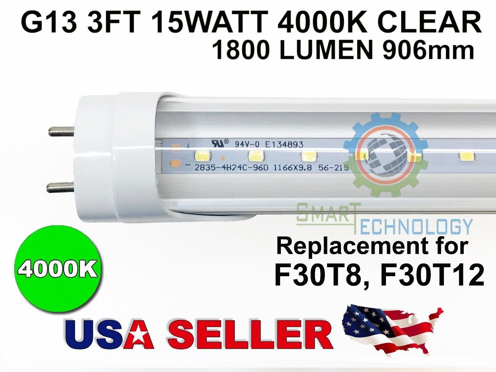 G13 3FT 15W 4000K CLEAR 906mm 35.6  LED Tube F30T8 T12 2835SMD Light Fluorescent