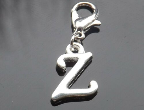 Silver Plated Scroll Letter for Bracelets Personalised Initial Clip On Charm