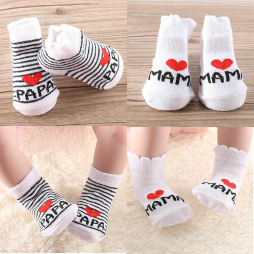 Lovely Baby Newborn Infant Kids Stripe Stripe Cotton Princess Socks Love Mama