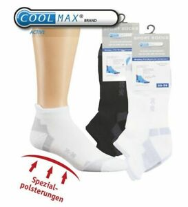3-Paar-COOLMAX-Sneakers-Anatomische-Sport-Socken-Schwarz-oder-Weiss