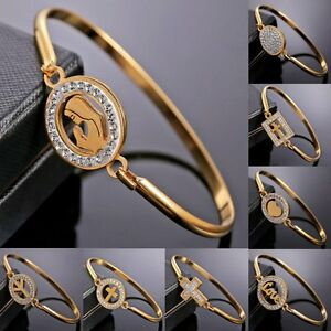 Mother-Gold-Stainless-Steel-Love-Heart-Women-Cuff-Bracelet-Bangle-Family-Jewelry