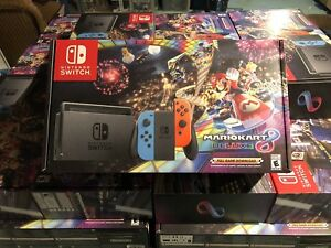 Details about Nintendo Switch Red Blue Joy Con Mario Kart 8 Deluxe Bundle  NEW SEALED 32GB Neon