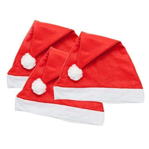 Lot de 12 X Noël Noël Feutre Rouge Santa Chapeau Blanc Pompon Office Home Party