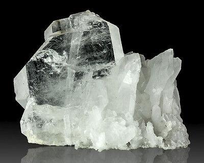 "3.8"" FADEN QUARTZ Cluster Dbl Terminated Crystals w/White Line Pakistan for sale"