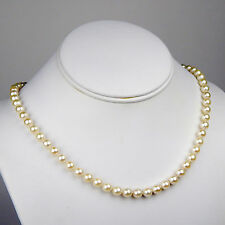 "6 - 6.5 mm Cultured White Pearl Strand Necklace 14 kt Yellow Gold 18 1/2"" #2986"