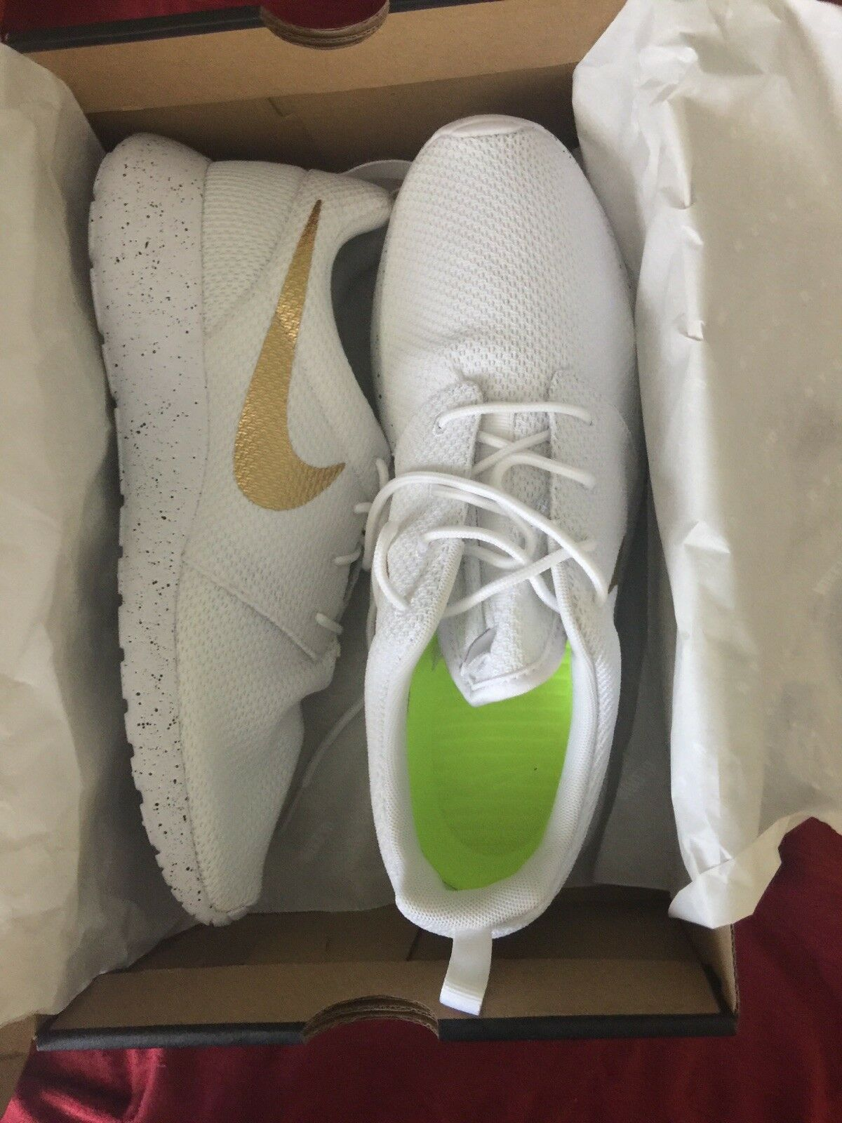 Women's Custom, White and Gold NIKE Shoes (Size 11)