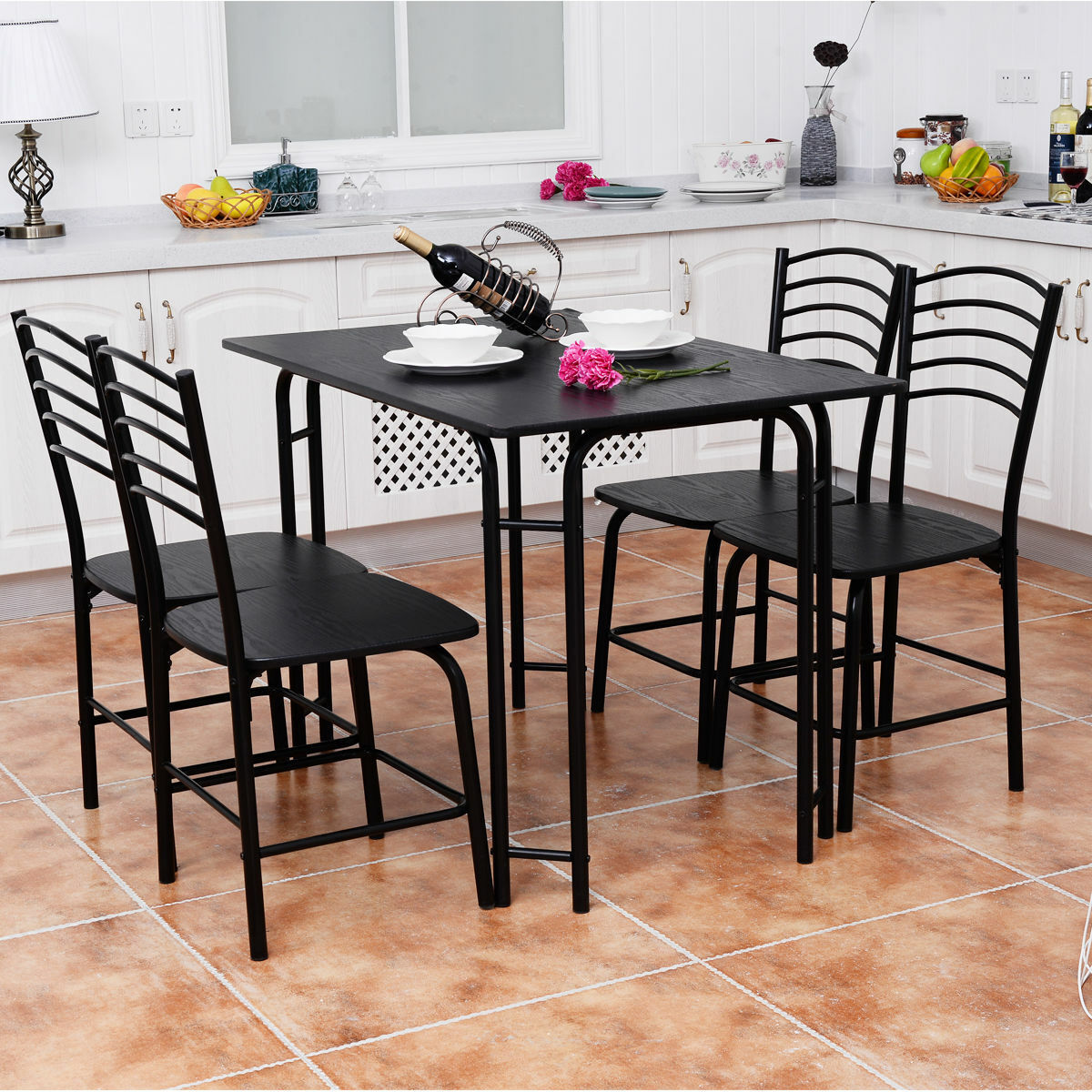 5 Pcs Modern Dining Table Set 4 Chairs Steel Frame Home Kitchen