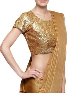 044e7994079f45 Indian Women s Ethnic Golden embellished Saree Blouse Crop Top USA ...