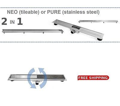 STAINLESSSTEEL SHOWER WETROOM DRAIN NEO&PURE 50-100cm 2in1 reversible INNOVATION
