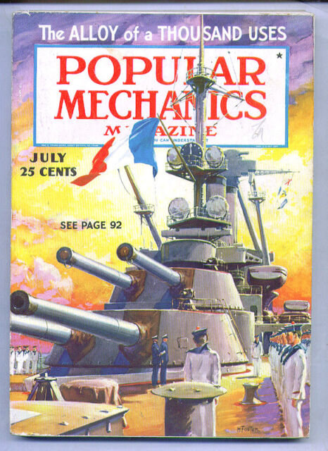 HAL FOSTER cover POPULAR MECHANICS July 1936 - movie miniatures, tigers