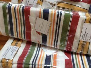 Pottery Barn Tad Stripe Table Runner 18x108 Summer Setting Red White Blue New
