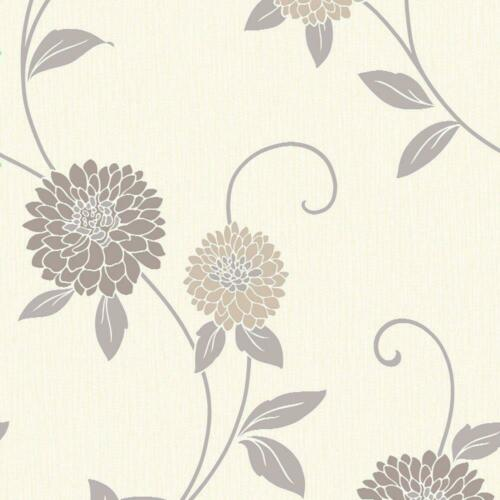 Neutral Floral Wallpaper Flowers Cream Beige Silver Metallic Vinyl Arthouse Zara