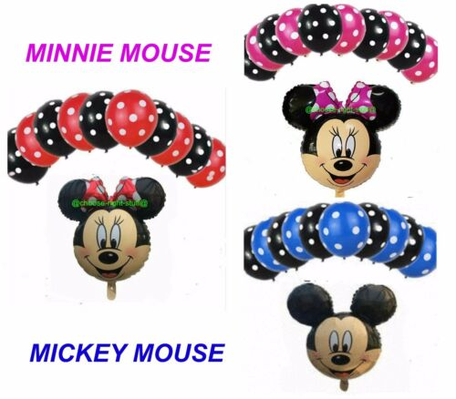 """12/"""" inch POLKA DOT /& 18/"""" inch MICKEY/& MINNIE MOUSE FOIL BALLOONS MIX PACK"""