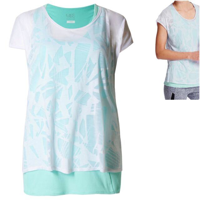 M&S 14 16 20 Fitness Sports Gym Racer Vest and Burnout TShirt Top Set Mint White
