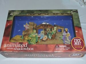 Holiday-Time-Musical-Animated-Nativity-Shadow-Box-Christmas-Decor-Religious