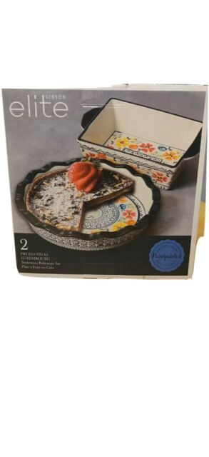 New-Gibson Elite 120847.02 Luxembourg 2 Piece Stoneware Bakeware Hand Painted