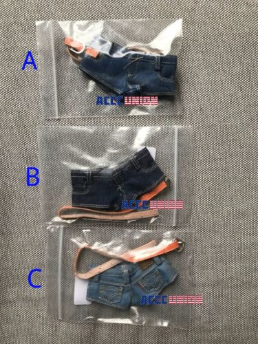 """1//6 Jeans Shorts Tank Top Belt Set For 12/"""" PHICEN Hot Toys Female Figure USA"""