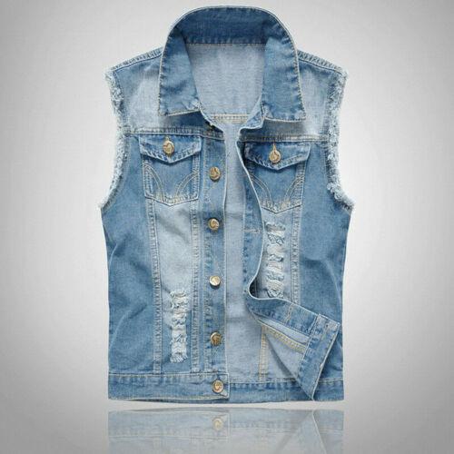 Men Denim Vest Sleeveless Washed Jeans Waistcoat Ripped Jacket Plus Size 6XL