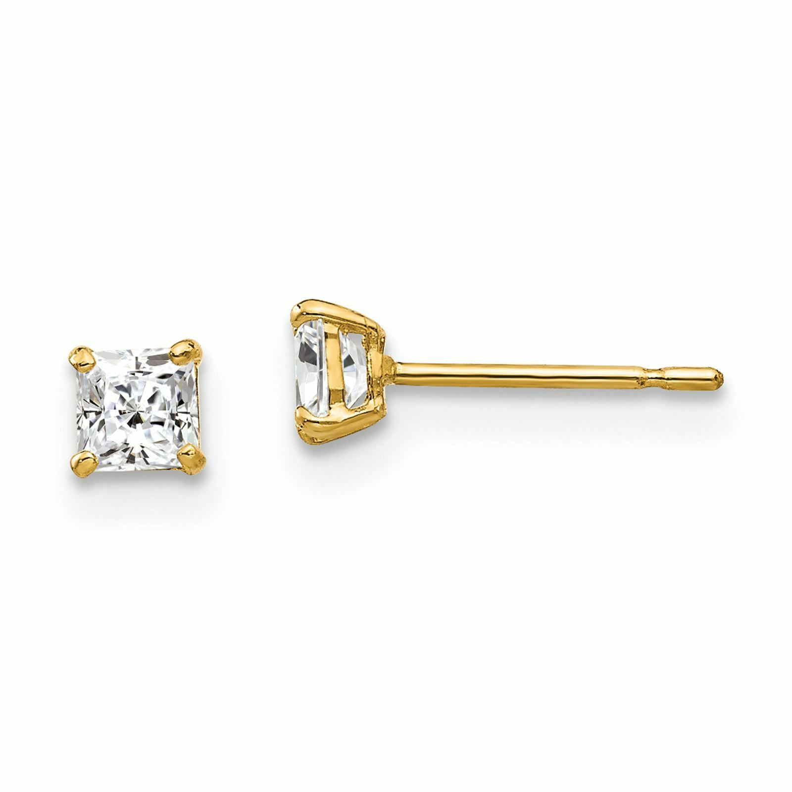 NEW Mens and Ladies 14k Yellow Gold Polished 3mm Square CZ Post Stud Earrings