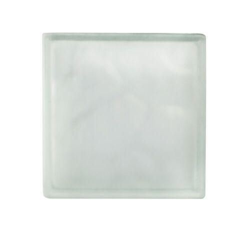 5 Stück Glasbausteine Glasstein Wolke Weiss 1-seitig satiniert 24x24x8cm Bauglas