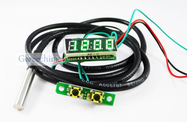 """0.28"""" Green LED  3 in 1 Digital Probe thermometer Car Clock Voltmeter DC 12V/24V"""