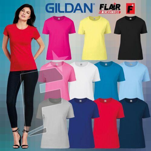 Gildan Women/'s premium t-shirt Work Wear Causal Top S-2XL GD009 11-Colour